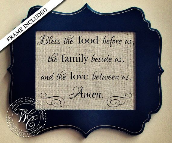 Kitchen Decor Bless The Food Before Us Prayer Poem Wall Dining Room Art