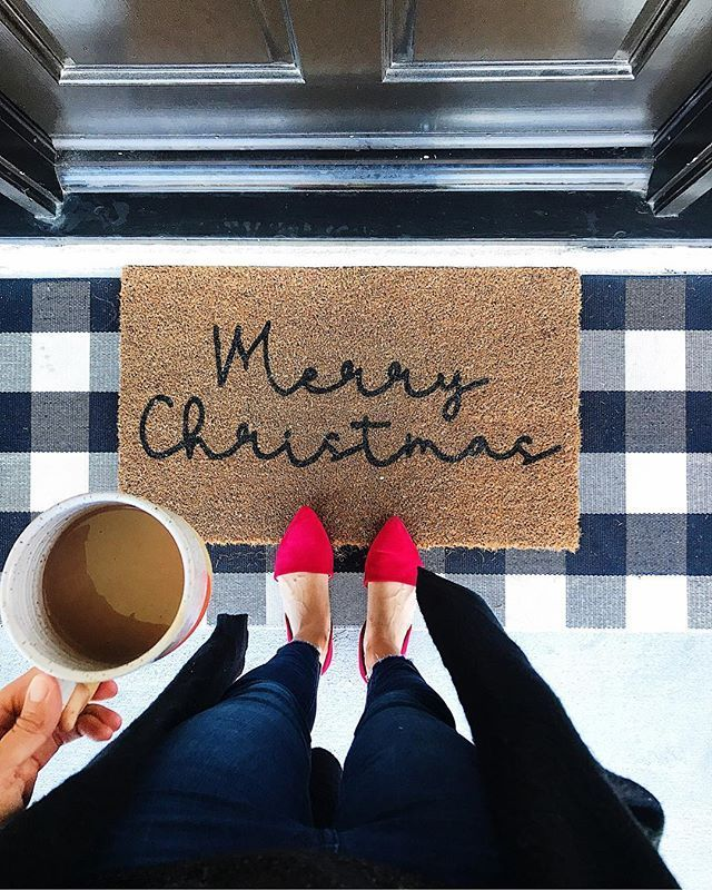 Christmas Entryway and Doormat with Red festive flats for the holidays via casamochi Christmas doormat Christmas entryway Christmas decor Christmas feels Red flats Cute f...