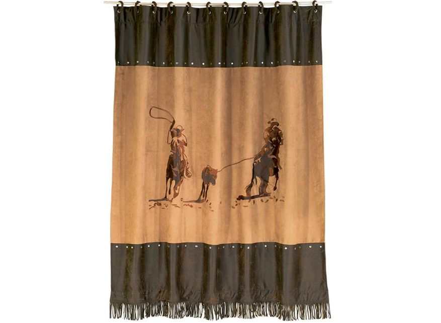 Team Roper Horse Shower Curtain Western Bathrooms Rustic Shower Curtains Western Style Shower Curtains
