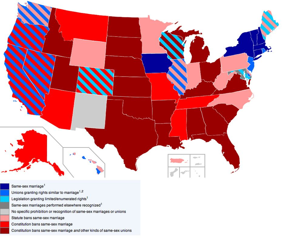 same sex marriage map state laws list in Warren