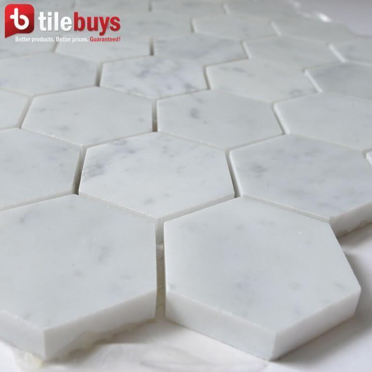 Hexagon 2 Carrara White Marble Mosaic Polished Hexagonal Mosaic Tile Bathroom Shower Floor Tile