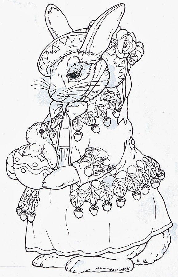 inkspired musings beatrix bunny coloring page by jan brett - Jan Brett Easter Coloring Pages