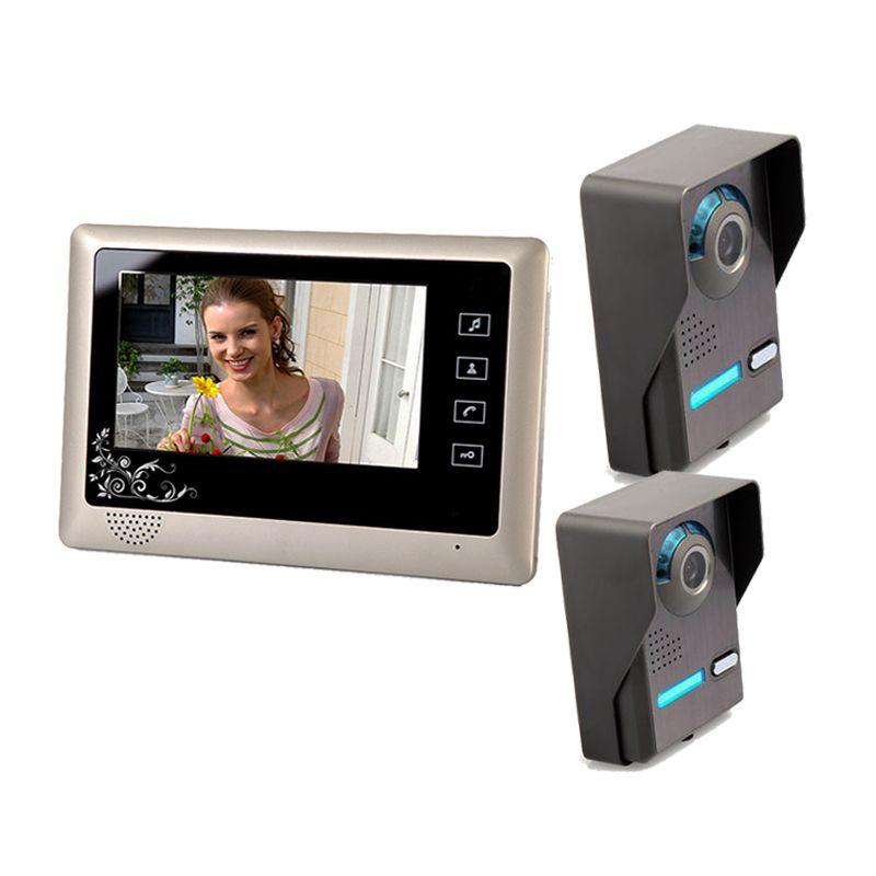7 Inch Video Door Phone Doorbell Video Entry System Intercom Kit With 2 Outdoor Camera 1 Indoor Monitor Doorbell Entry Sy Video Door Phone Outdoor Camera Phone