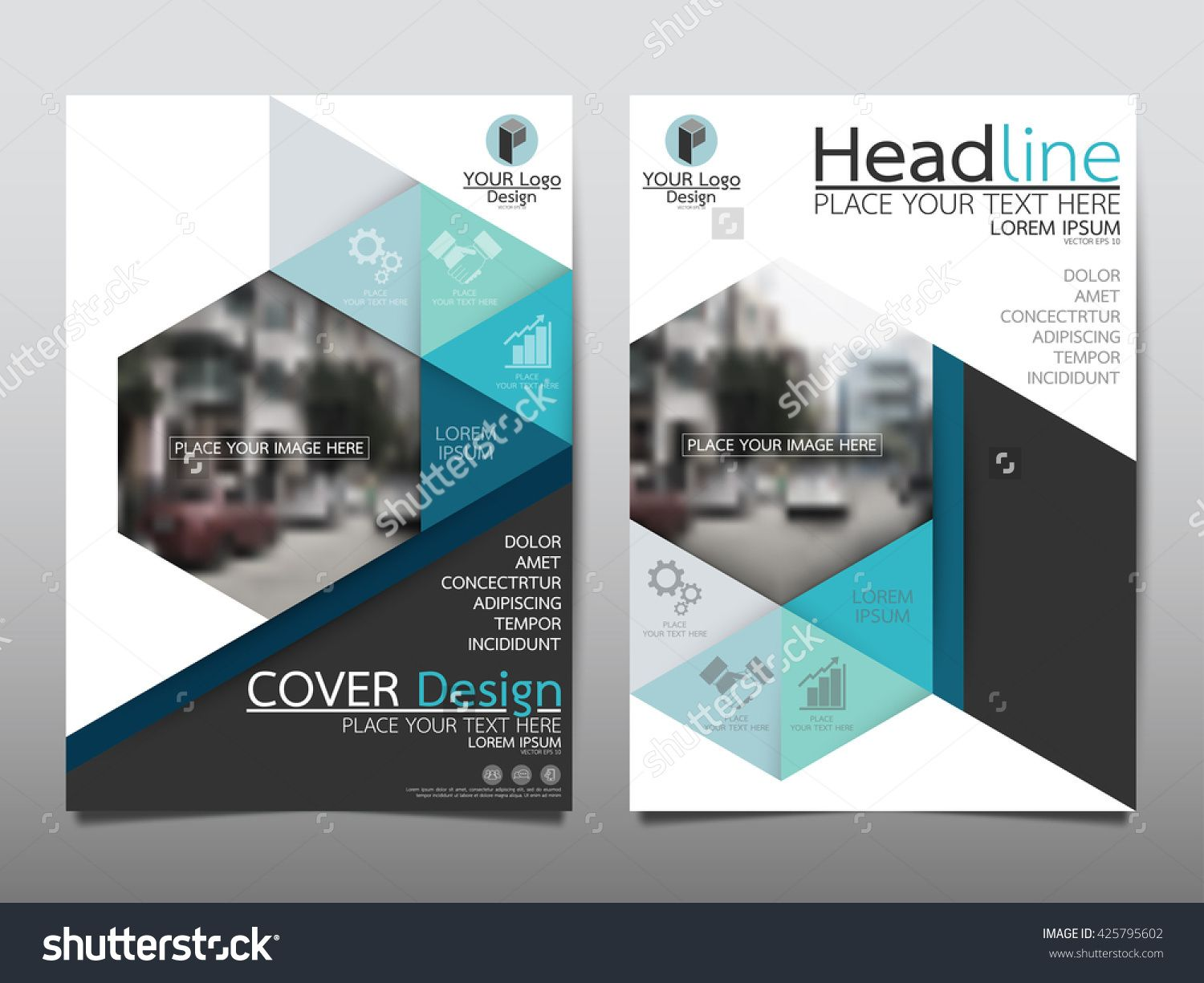 Blue technology triangle and hexagon annual report for Technology brochure templates