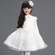 Nimble Dress For Girls Casual Ivory Autumn & Winter Knee-Length  Girl Cloth Solid O-neck Princes Dress //FREE Shipping Worldwide //