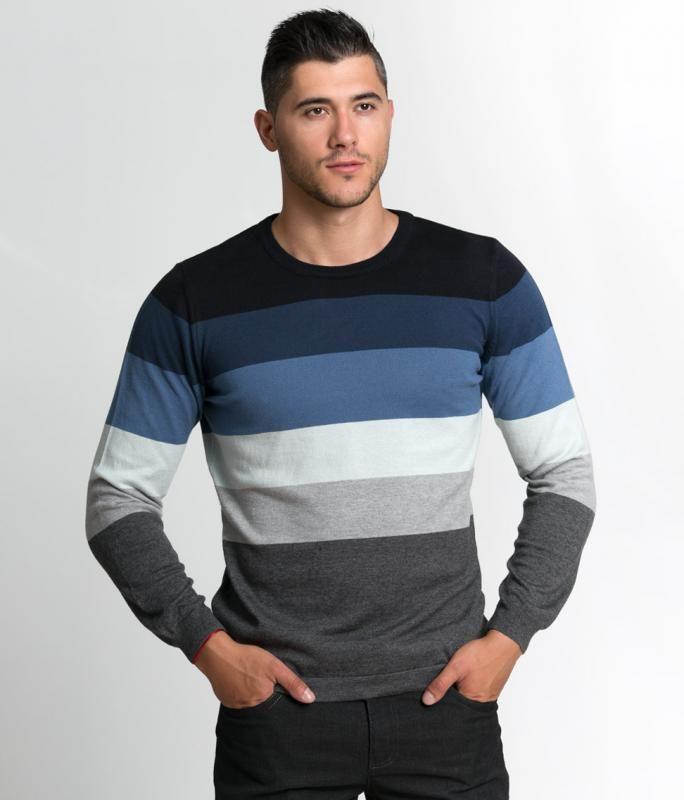 898636570c1 Мъжки пуловер Styler многоцветно райе   Онлайн маркови дамски дрехи, мъжки  дрехи и дамски обувки. Online магазин за маркови рокли, блузи, ризи.
