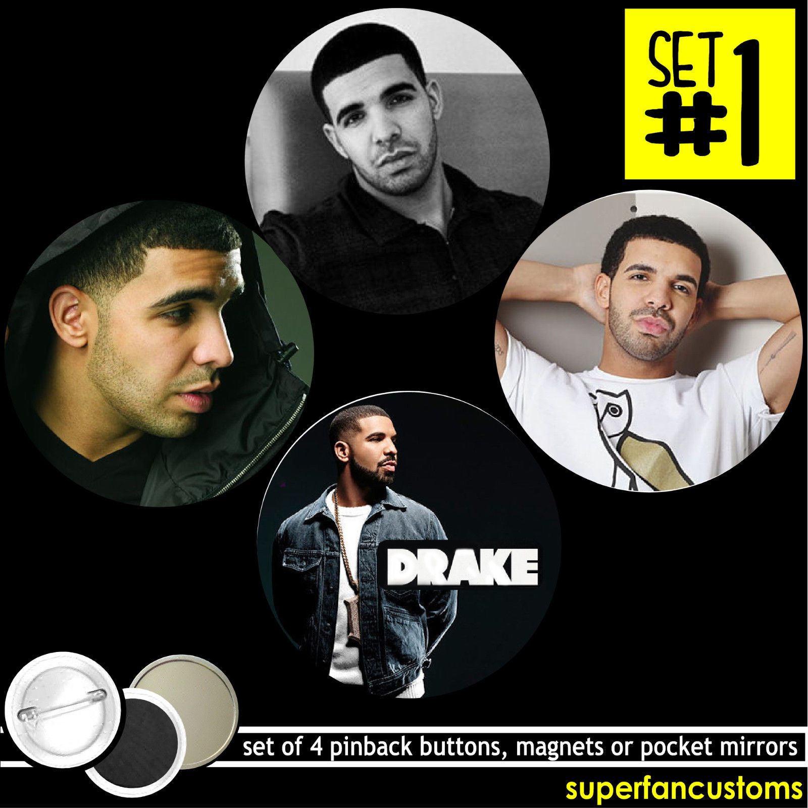 Drake Set Of 4 Pinback Buttons Or Magnets Or