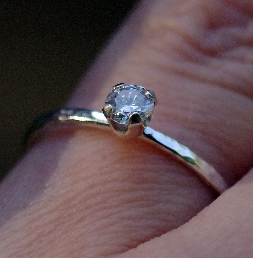 Genuine Diamond Solitaire Engagement Ring - .23 carat natural diamond and sterling silver