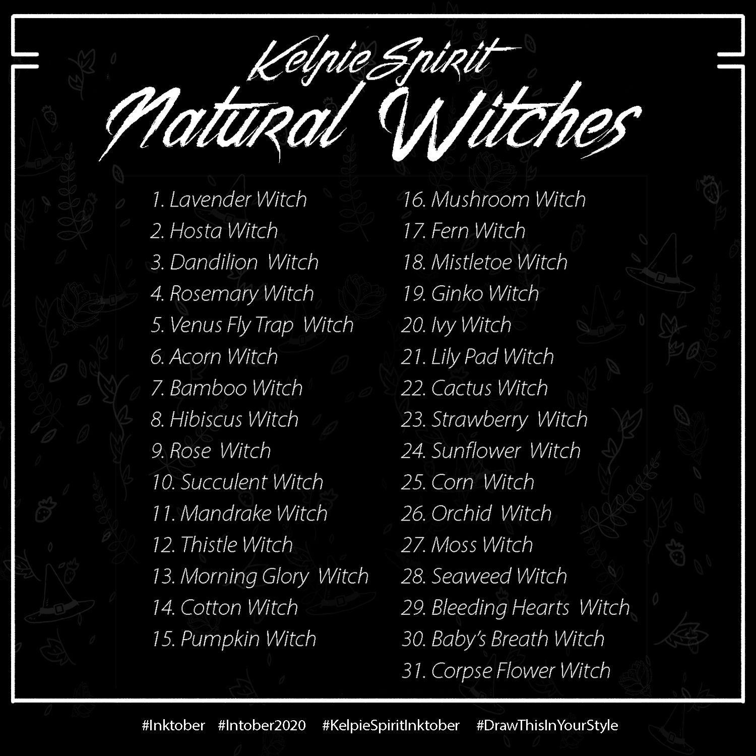 Inktober List 2020.Inktober 2020 Natural Witches By Kelpiespirit Racheal