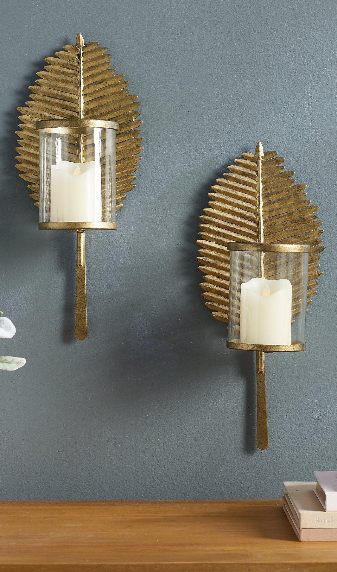 Palm Leaf Candle Sconces Set Of Two Grandin Road Candle Sconces Leaves Candle Sconces