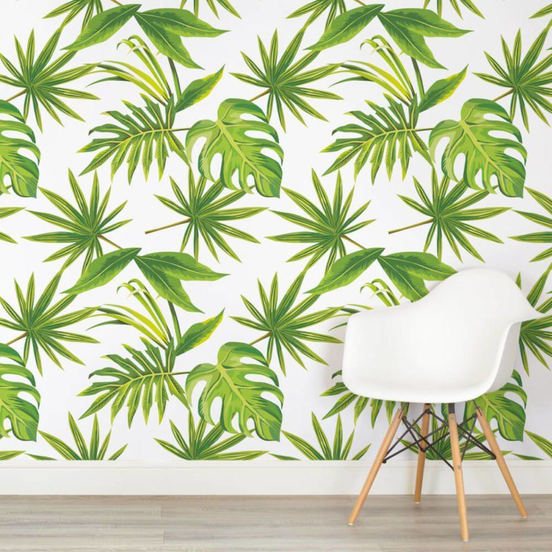 tropicalleavesprintsquarewallmurals Leaf wallpaper