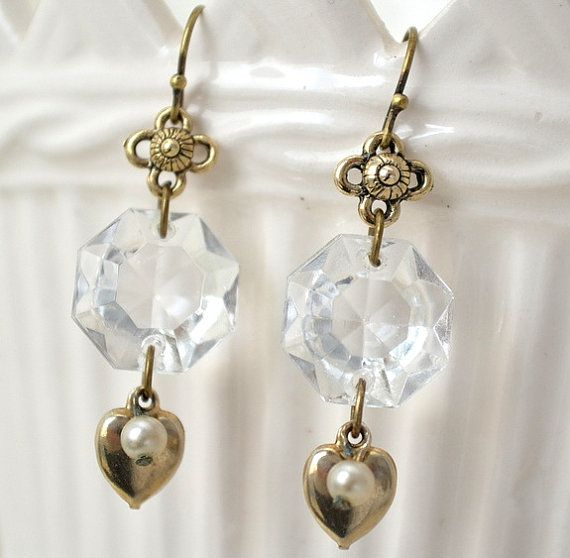 These elegant earrings were made from the crystals of a vintage these elegant earrings were made from the crystals of a vintage chandelier heart charms with tiny pearls from a once loved necklace were mozeypictures Gallery