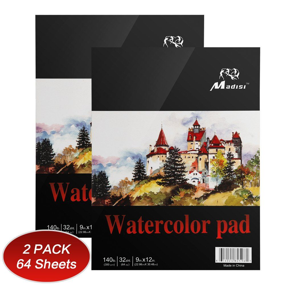 Madisi Watercolor Paper Pad 9 X 12 32 Sheets 140lb Pack Of 2 Pads