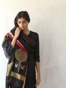 Black Chanderi & Zari Marigold Dupatta