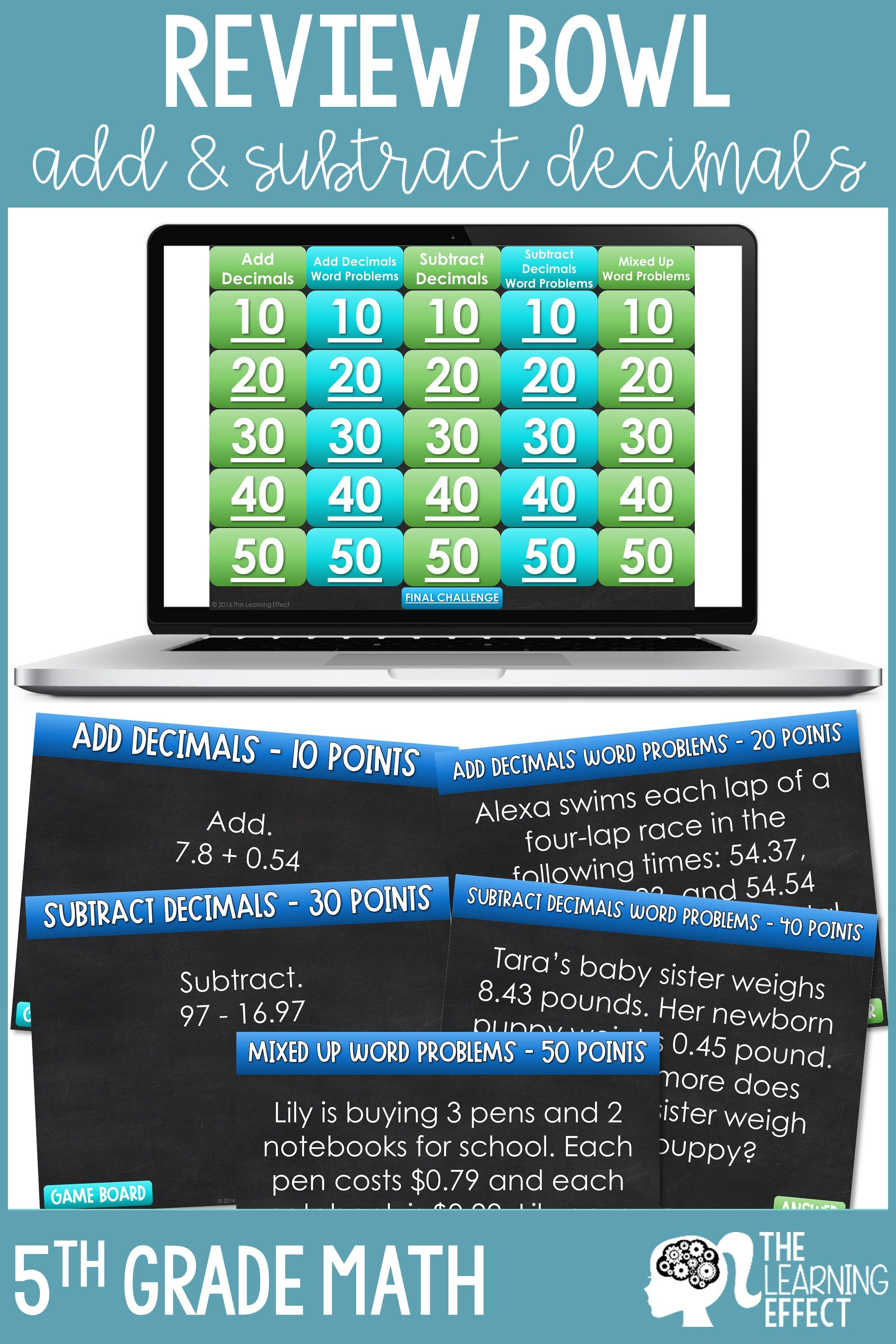 Add And Subtract Decimals Game Show