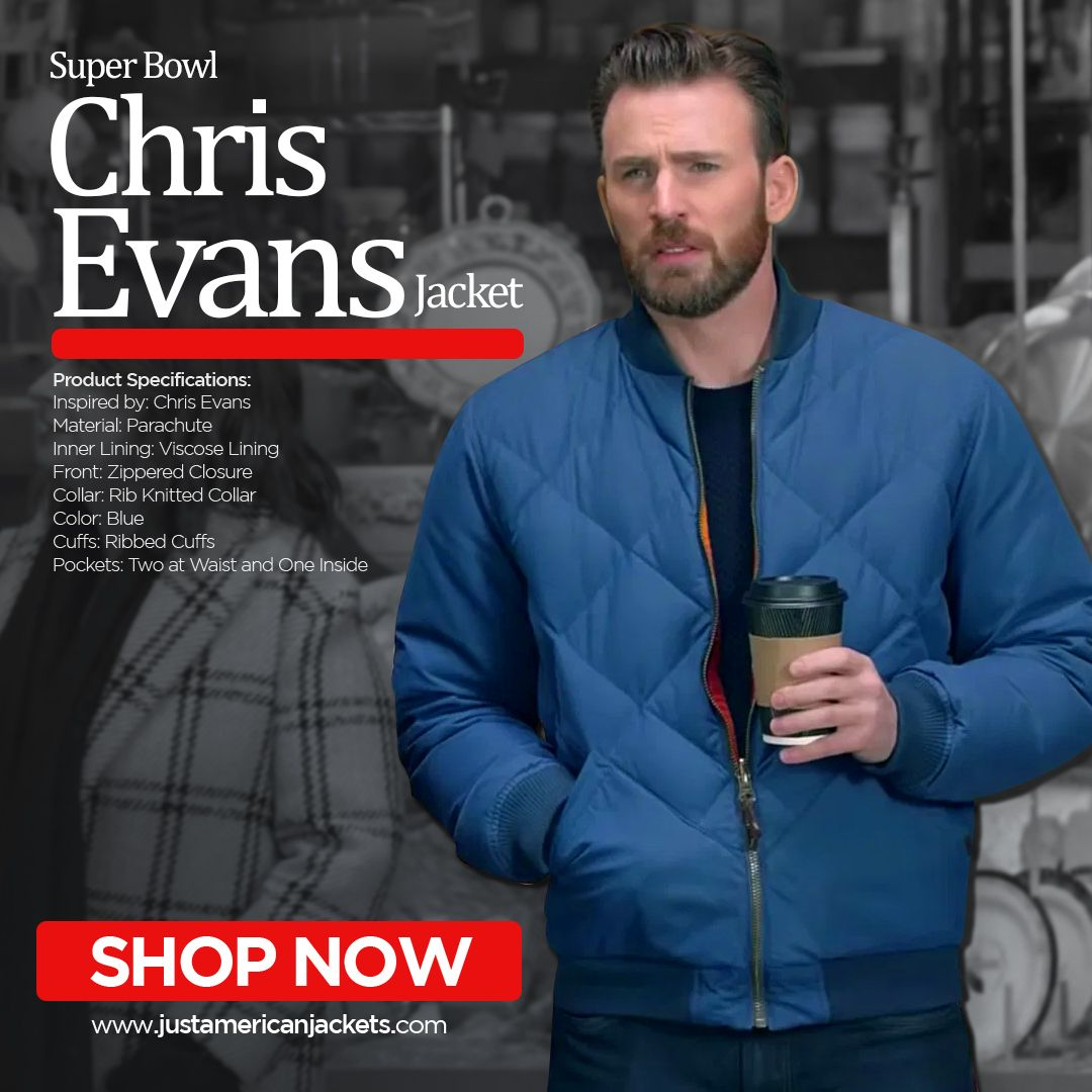 Super Bowl Chris Evans Jacket Just American Jackets Chris Evans Super Bowl Jackets [ 1080 x 1080 Pixel ]