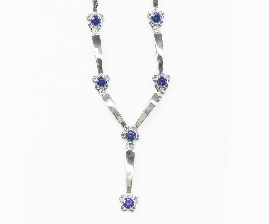 "Sterling silver and 14K yellow gold ""Y"" necklace with Amethysts $398"