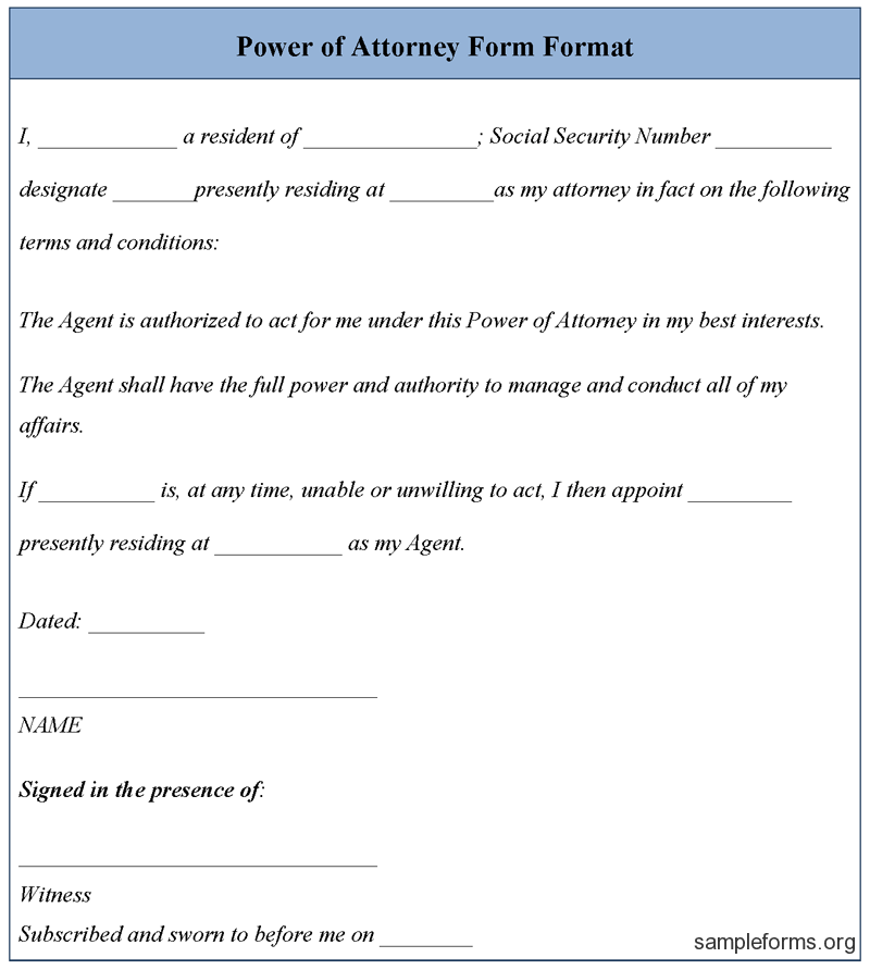 Free Power Attorney Template – Blank Power of Attorney Form