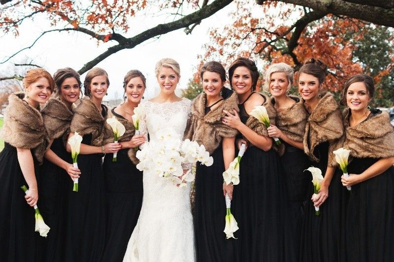 A Black Tie Wedding With A Touch Of Winter Black Bridesmaid Dress Winter Winter Wedding Bridesmaids Winter Bridesmaid Dresses