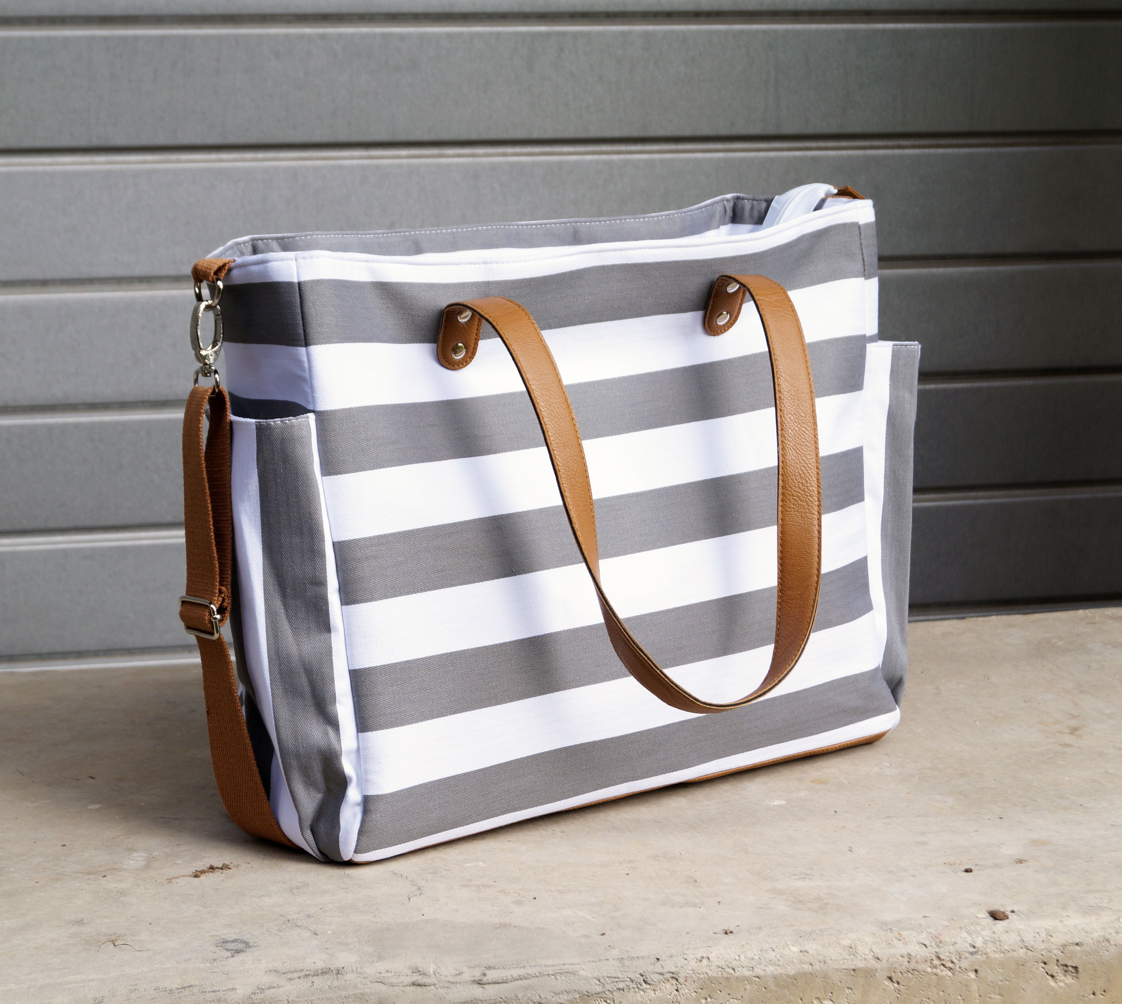 159b6bc264 The Aquila Gray Stripe Tote Bag Makes the perfect diaper bag or weekend bag!