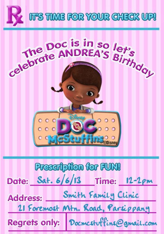 Doc McStuffins Invitation Birthday Printable Diy Digital File