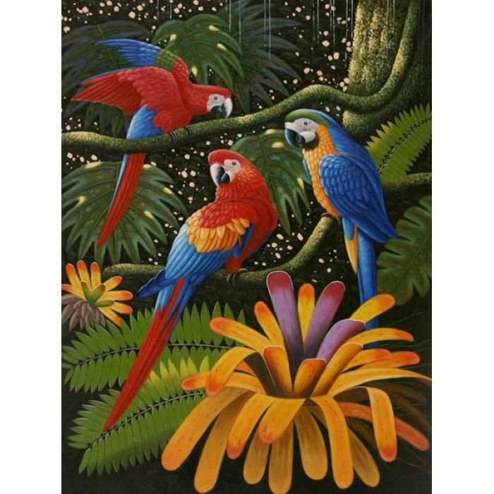 ON SALE! - Colorful Speakers - III - $56.99 - Parrots - Hand Painted - Oil Paingings for Sale - Oil on Canvas - Cheap Canvas Art
