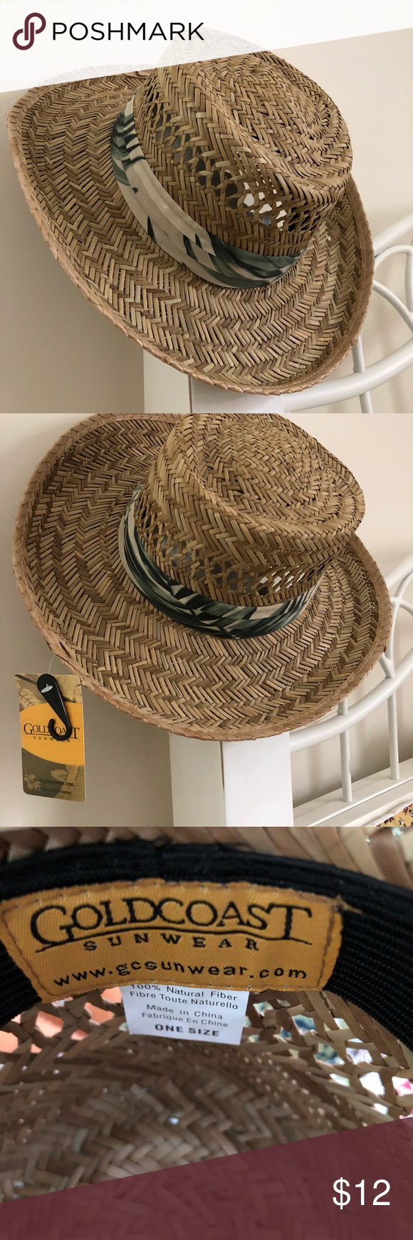 "5fb59338ed741 Unisex Goldcoast Sunwear Straw Hat Gold Coast Sunwear Straw Hat print band  3.5"" brim One size Elastic stretch NWT Natural color Goldcoast Sunwear ..."
