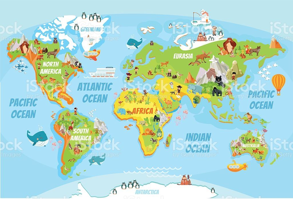 global map with cartoon animals royalty free stock vector art cartoon world global map world map global map with cartoon animals royalty