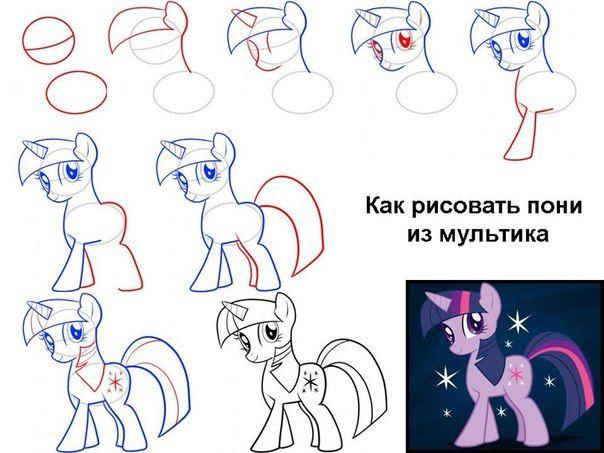 как нарисовать литл пони рарити радугу пинки пай и других