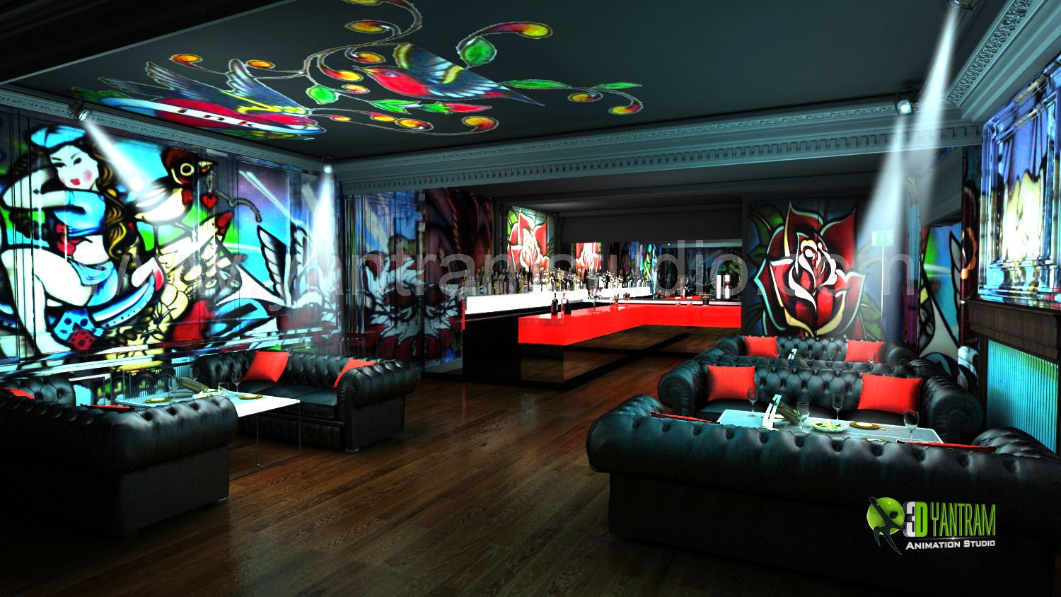 3D #Interior #Design #Rendering for commercial Night View Pub bar Animation  by YantramStudio