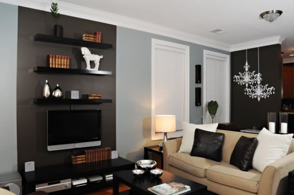Love The Black Accent Walls Floating Shelves Floating Shelves Bedroom Rustic Floating Shelves