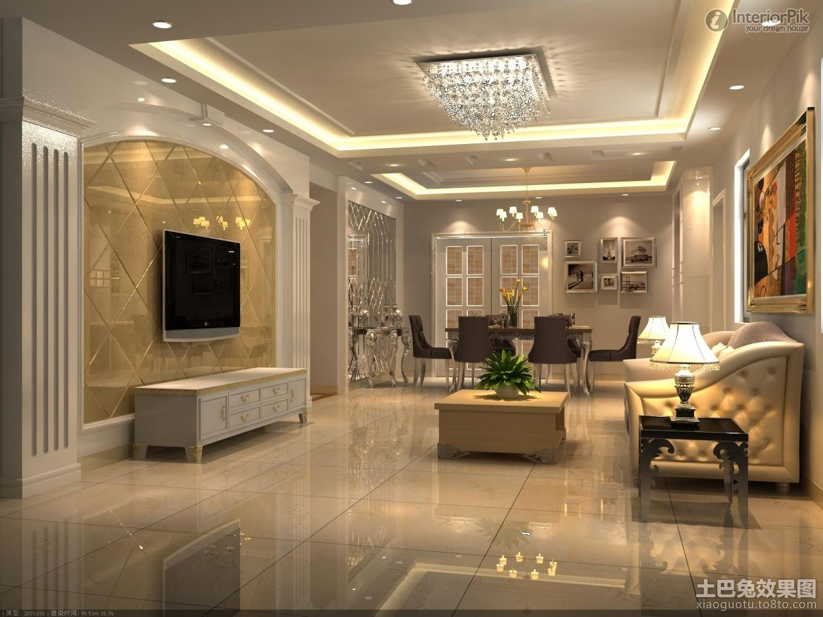 Effect picture of European style living room wall decoration ...