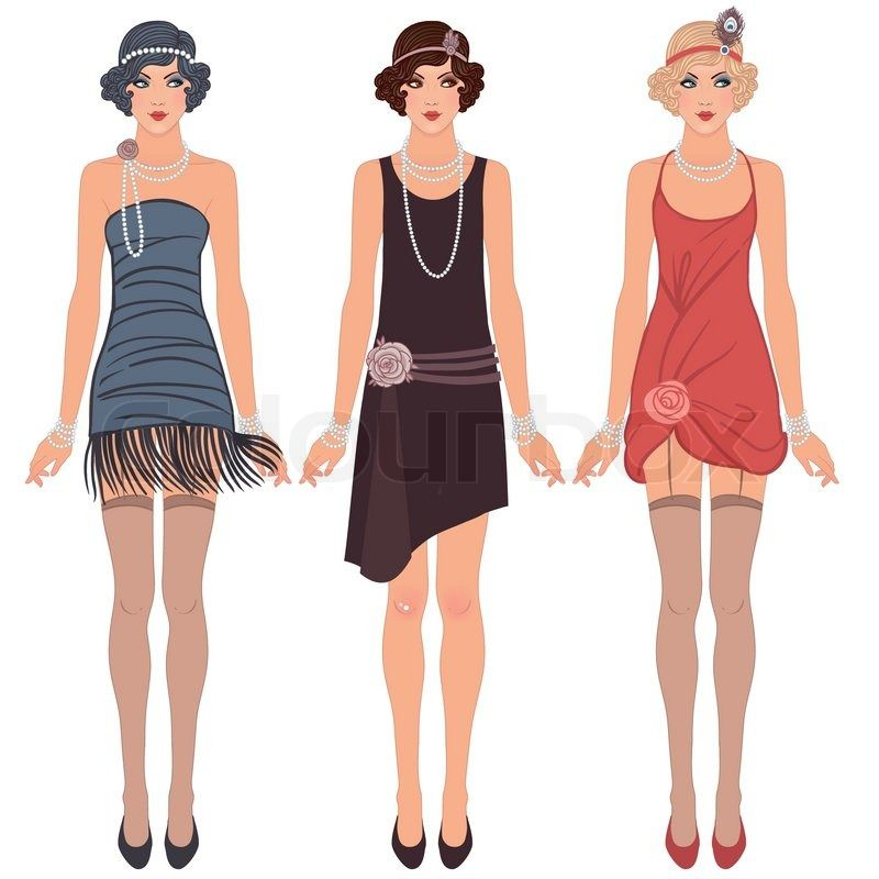 Three Young Flapper Women Of 1920s Stock Vector 1920s Fashion Women 1920s Fashion Flapper Girl Dress