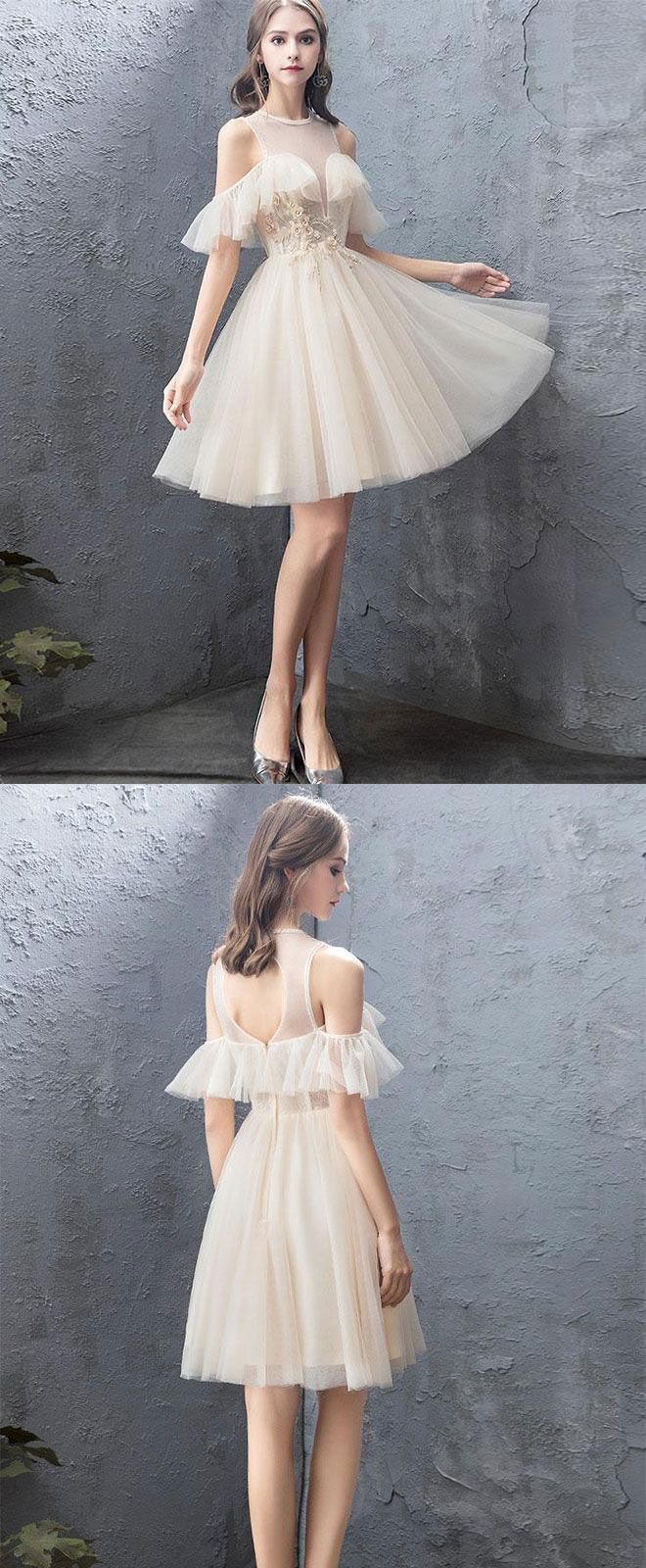 Cute round neck tulle champagne short prom dress homecoming dress