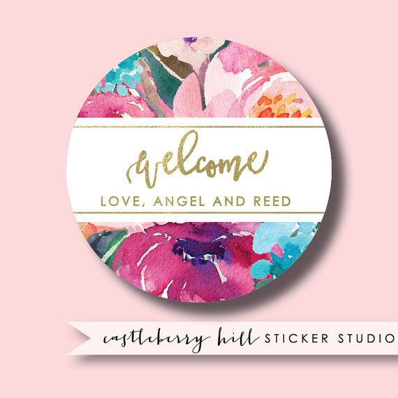 Bridal Shower Labels Watercolor Flower Wedding Shower Stickers Personalized Shower Favor Tag Watercolor Flower Wedding Bridal Shower Labels Watercolor Flowers
