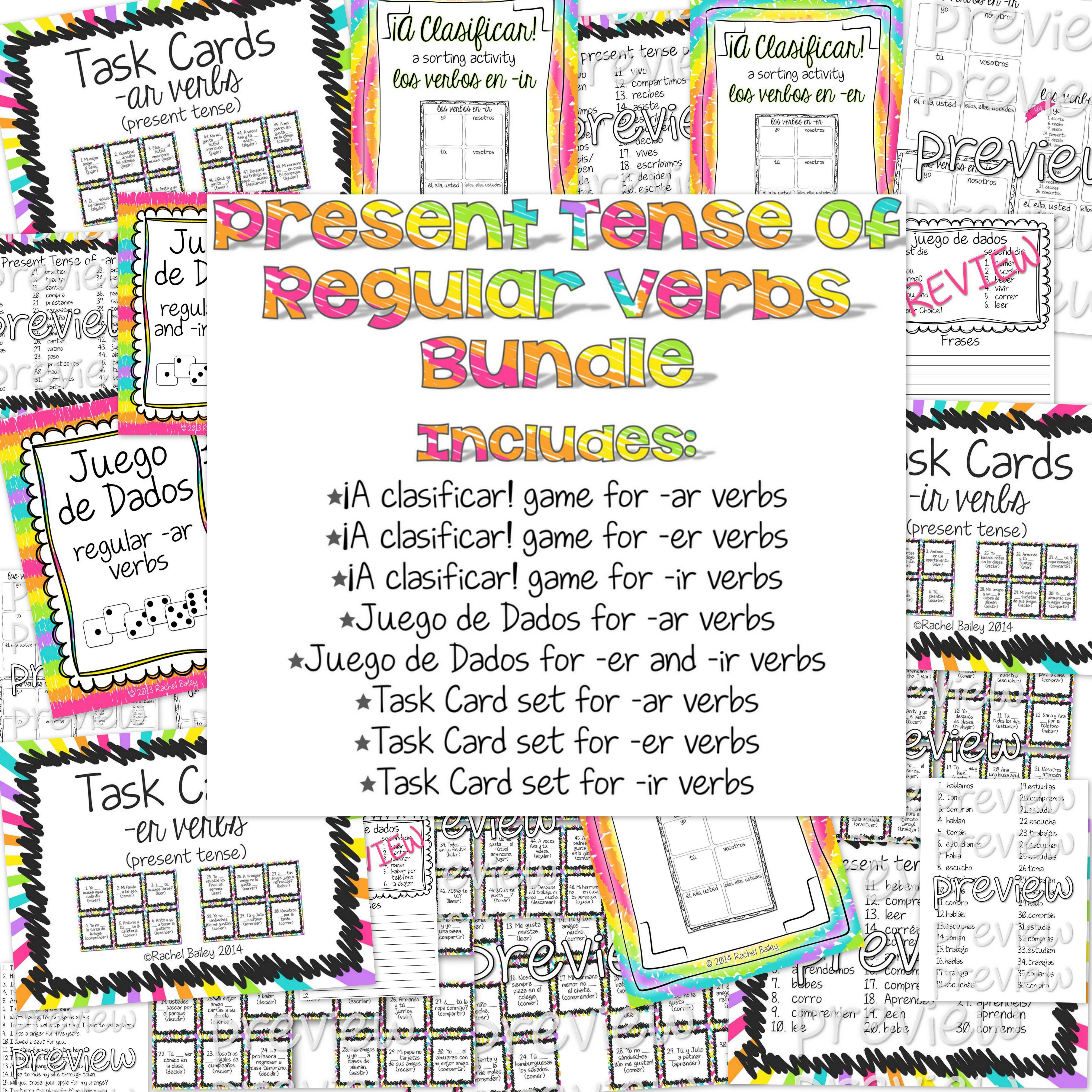 Bundle Of 8 Ar Er And Ir Verbs Games And Activities For