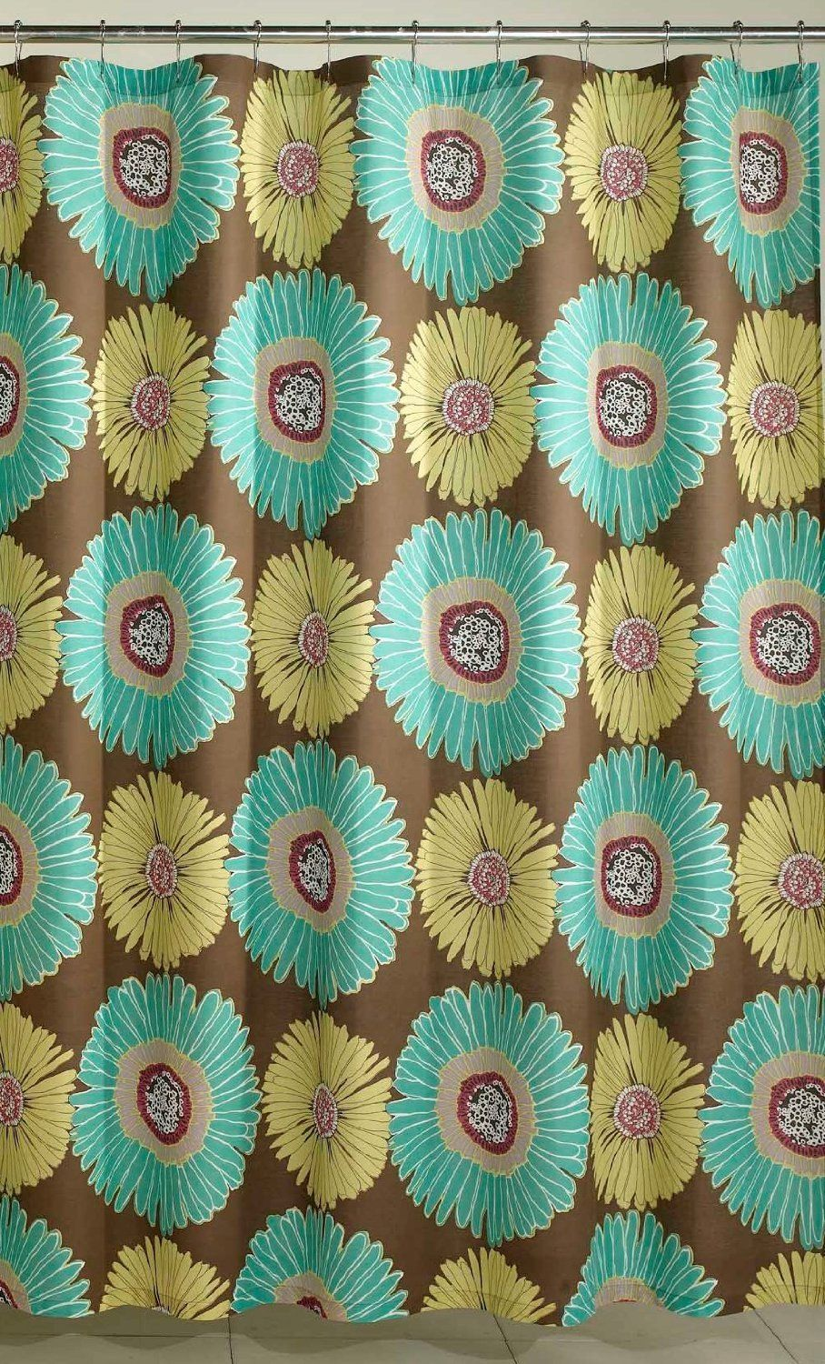 M Styles Sunflower Shower Curtain Chocolate Brown Lime Green Aqua Blue NEW