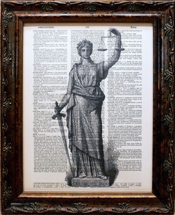Lady Justice Statue Art Print On Dictionary Book Page Etsy Lady Justice Statue Justice Statue Lady Justice