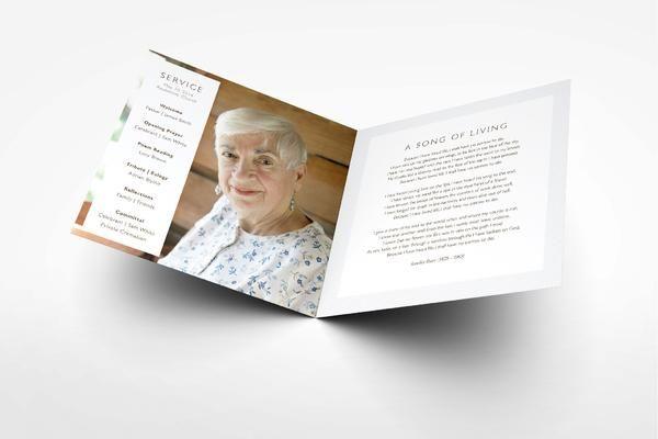 Begonia Funeral Program Design Funeral Memorial Photo Pattern And