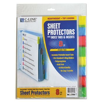 """Sheet Protectors With Index Tabs, Assorted Color Tabs, 2"""", 11 X 8 1/2, 8/st"""