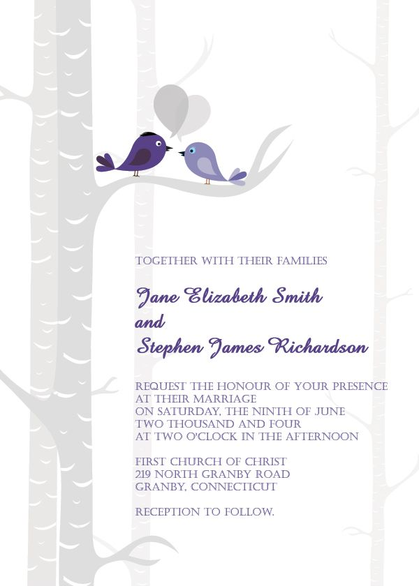 WEDDING INVITATIONS FREE | Birds Free Wedding Invitation Template ...