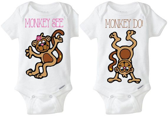 Fraternal Boy Girl twins already causing chaos?  Check out these adorable Monkey See Monkey Do! twinset onesies! Choose any color for font! Check out all of the cute twinsets from the Little Froggy Surf Shop on ETSY! Boy / Boy, Boy / Girl or Girl / Girl Twins or (Identical or Fraternal Twins) Onesie Shirts with Preemie Sizes Available for all items! Order yours here: https://www.etsy.com/shop/LittleFroggySurfShop