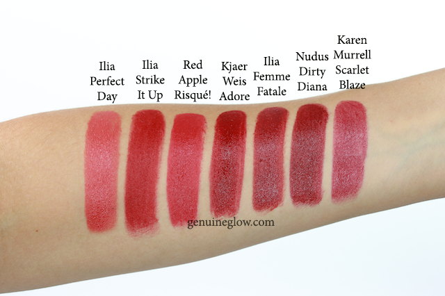 Red lipstick swatches Ilia Kjaer Weis Red Apple Lipstick
