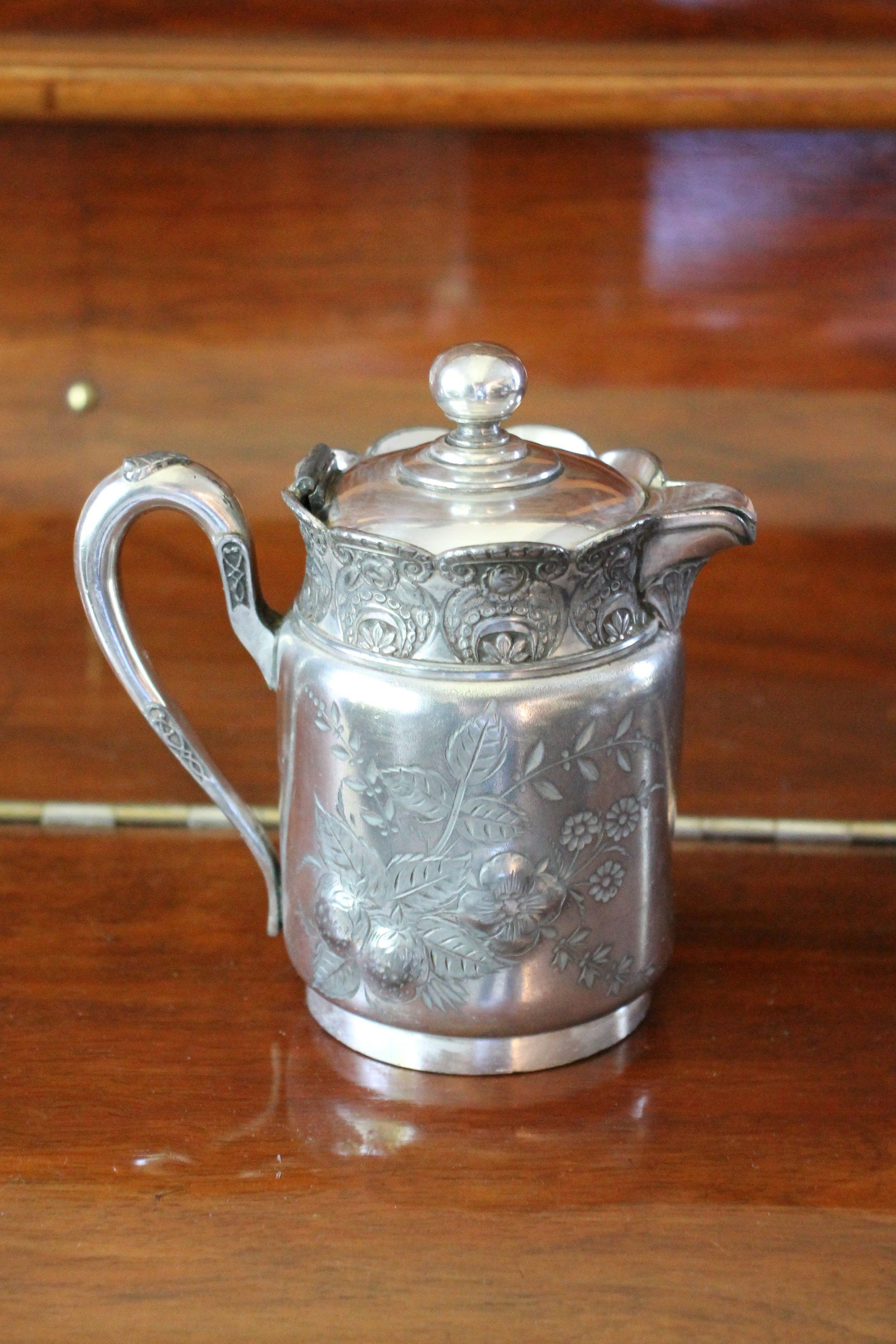 A Lot of Antique Silver Soldered Plate Creamer Pitcher and Sugar Basin