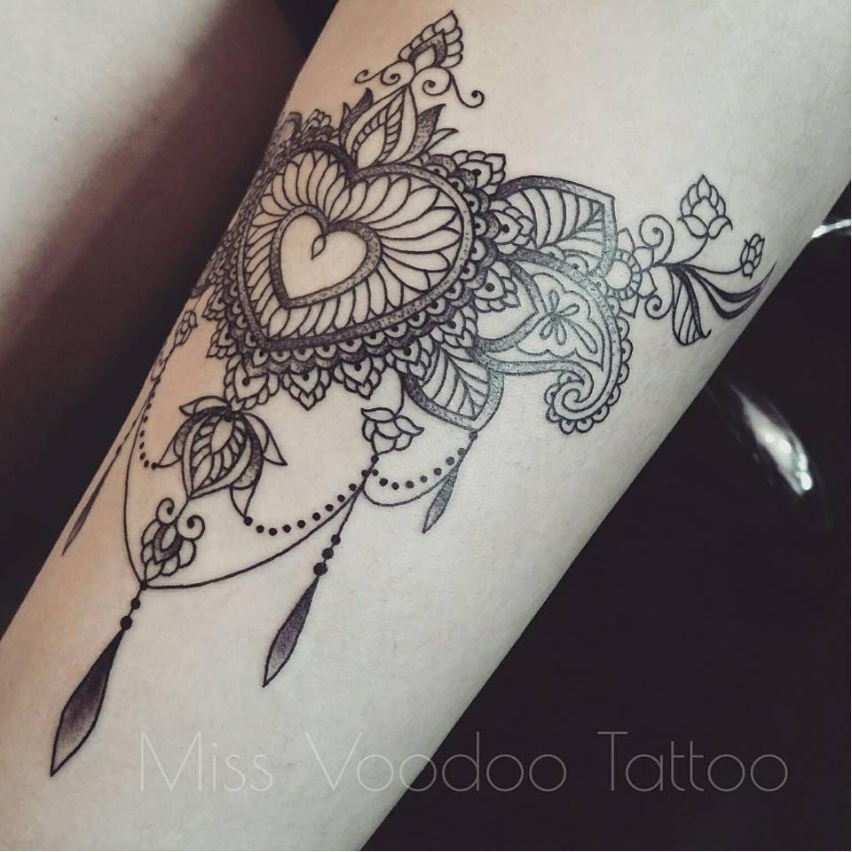 909db8d16 Heart-shaped tattoo by Miss Voodoo #MissVoodoo #ornamental #lace #mehndi #