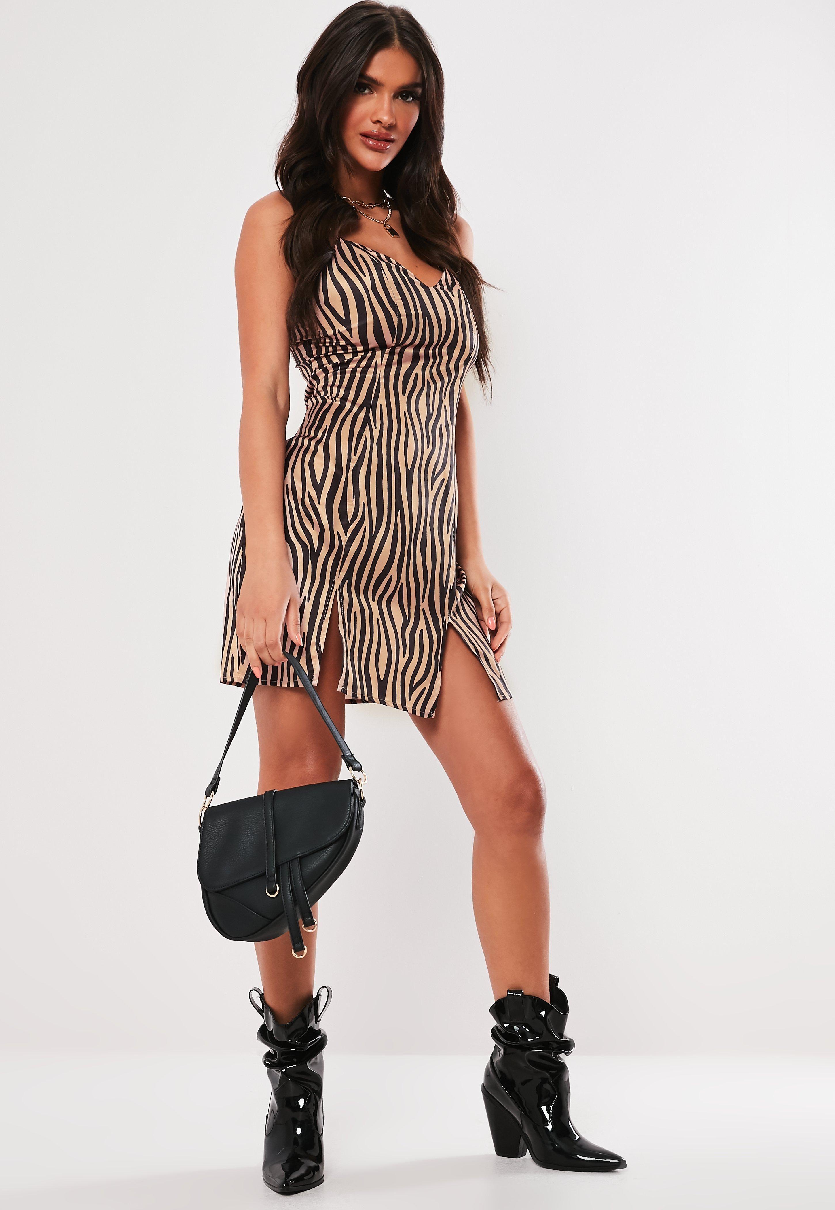 32e6b4452061 Brown Zebra Print Satin Split Front Mini Dress #Sponsored #Print, #Ad,  #Satin, #Brown