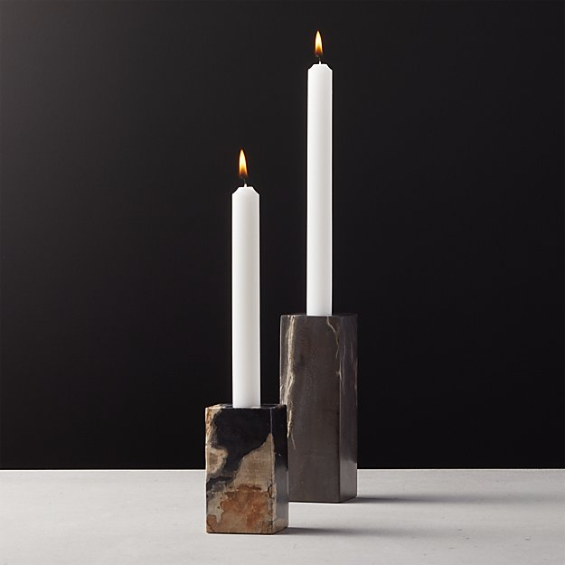 Petrified Wood Taper Candle Holders Cb2 Taper Candle Holders Taper Candle Wood Pillar Candle Holders