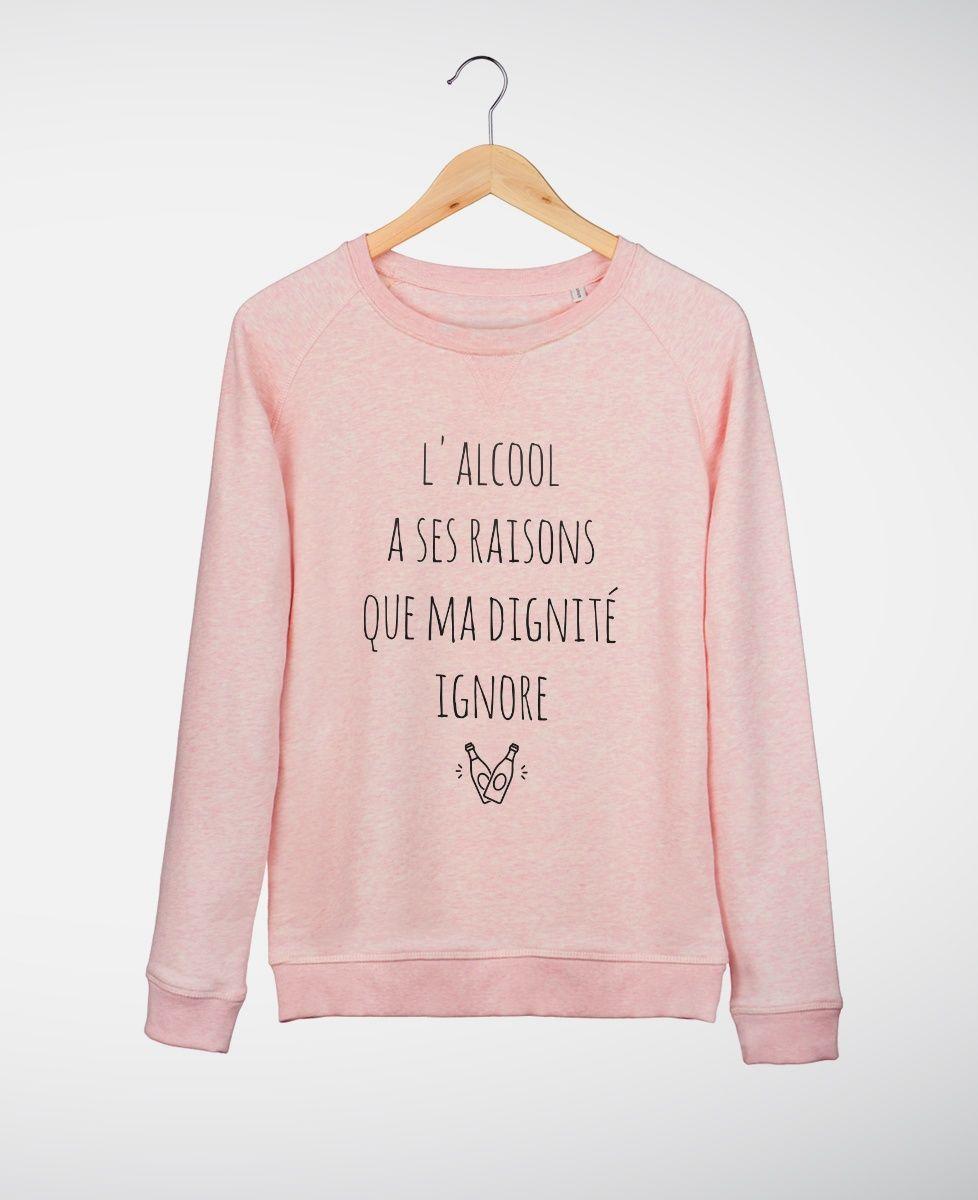 Extrêmement Sweat-shirts Femme L'alcool a ses raisons Rose by Madame TSHIRT  IP33