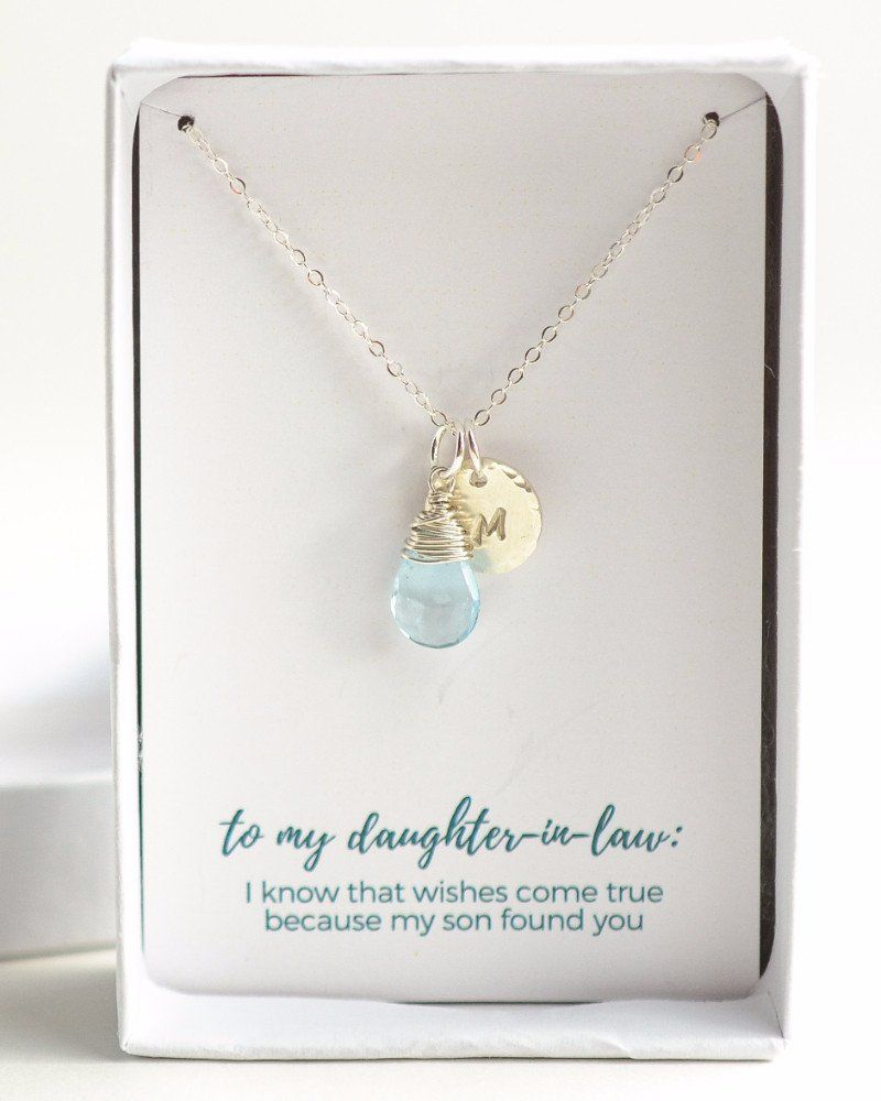 Gifts For Inlaws At Wedding: Silver Initial Daughter-In-Law Necklace In 2019