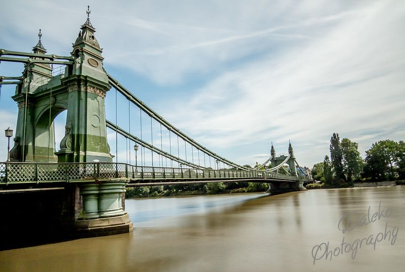 View of the suspension bridge linking Hammersmith to Barnes over the River Thames. Designed by Joseph Bazalgette and opened in 1887. It has been attacked by the IRA and Real IRA terrorist groups.